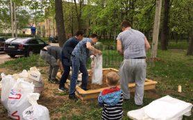 В Смоленской области молодые папы соорудили детскую площадку